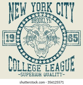 New York City  Superior Tiger  Sport  vector print and varsity. For t-shirt or other uses in vector.T shirt graphic