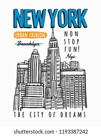 New York city theme vector illustrations, for t-shirt print design, posters and other uses