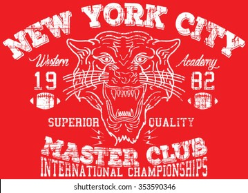 New York City  Tiger  Sport  vector print and varsity. For t-shirt or other uses in vector.