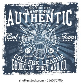New York City  Tiger  Sport, Authentic, Superior Quality  vector print and varsity. For t-shirt or other uses in vector.T shirt graphic