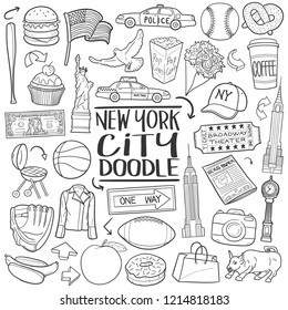 New York City Travel  Traditional Doodle Icons Sketch Hand Made Design Vector