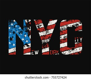 New York City t-shirt and apparel design with grunge effect. Vector print, typography, poster, emblem.
