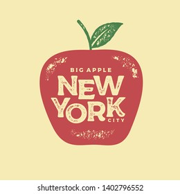 New York city typography design. The big apple. For apparel, t-shirt, print, home decor elements, greeting card, poster. Vector illustration