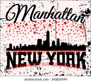 New York city Typography Graphics. Fashion stylish printing design for sportswear apparel. Concept in modern graphic style for print production. Skyline of Manhattan. Grunge separate layer. Vector