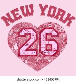 New York City Typography Graphics, girls T-shirt grunge Printing Design NYC original wear stamp, Vintage Print for sportswear apparel