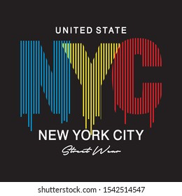 NEW YORK CITY TYPOGRAPHY FOR PRINT T SHIRT