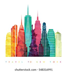 New York city, United States of America. Travel and tourism background. Vector illustration