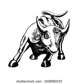 New York City, US - 02.01.2018: Hand drawn sketch style Charging Bull sculpture. Vector illustration isolated on white background.