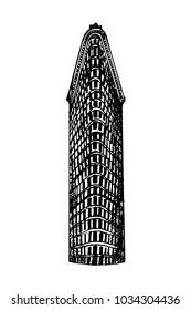 New York City, US - 02.01.2018: Hand drawn sketch style Flatiron Building. Vector illustration isolated on white background.