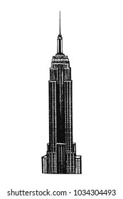 New York City, US - 02.01.2018: Hand drawn sketch style Empire State Building. Vector illustration isolated on white background.