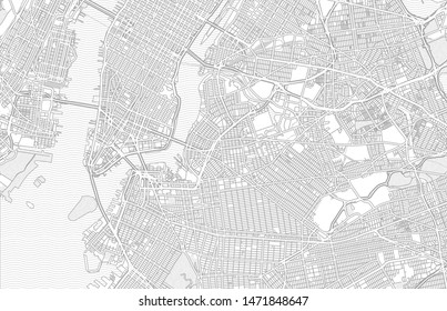 New York City, New York, USA, bright outlined vector map with bigger and minor roads and steets created for infographic backgrounds.