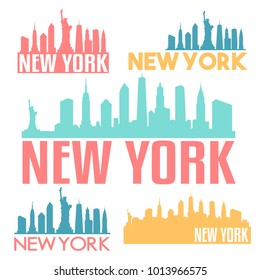 New York City USA Flat Icon Skyline Silhouette Design City Vector Art Famous Buildings Color Set