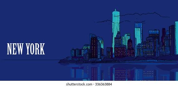 NEW YORK CITY, USA: New York city, night panoramic view. Hand drawn sketch, color, vector