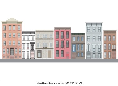 New york city vector set house. Panorama city background. Skyline urban border collection.