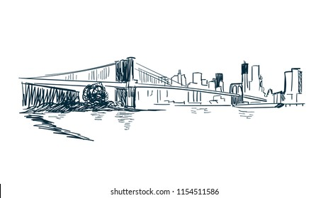 New York city vector sketch landscape line illustration skyline