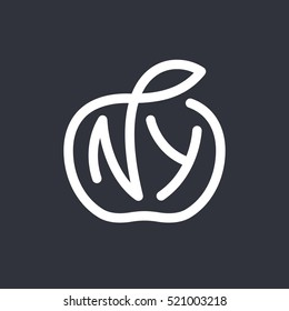 New York City vector typography line art. NY Big Apple illustration. Ideal for apparel , t-shirt design, print, home decor elements