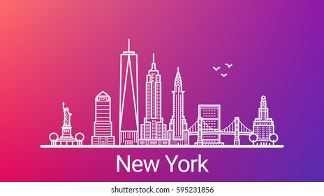 New York city white line on colorful background. All New York buildings - customizable objects with opacity mask, so you can simple change composition and background. Line art.