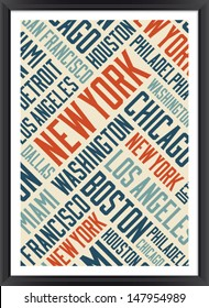 New York city words cloud poster