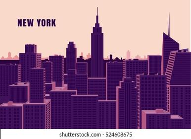 New York cityscape Flat vector illustration