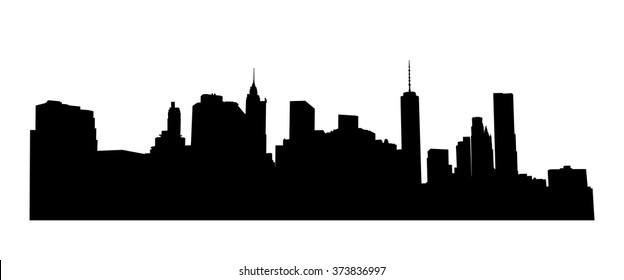 New York cityscape, Manhattan - view from Brooklyn. Vector  NYC background.