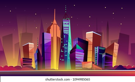 New York cityscape vector illustration. Cartoon New York landmarks in night, Freedom Tower on One World Trade Center and famous US America city buildings or skyscraper architecture with illumination