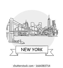 New York  Cityscape Vector Sign. Line Art Illustration with Ribbon and Title.