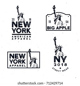 New York clothing badges / design / t-shirt prints with detailed monochrome Statue of Liberty