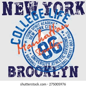 new york college basketball sports vector art