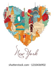 New York. Colorful vector illustration. Linear art in detail, with lots of background objects.