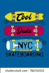 new york cool dude skateboarding,t-shirt print poster vector illustration
