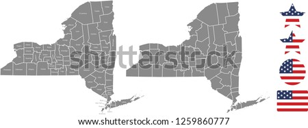 New York County Map Vector Outline Stock Vector (Royalty Free ...