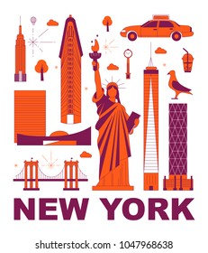 New York culture travel set, famous architectures and specialties in flat design. Business travel and tourism concept clipart. Image for presentation, banner, website, advert, flyer, roadmap, icons