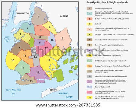 Map Of New York Districts.New York Districts Brooklyn Map Stock Vector Royalty Free