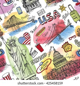 New York Doodle seamless pattern.American travel symbols in hand drawn sketch.Watercolor splashes.Vector America icons,sign of landmark,lettering.Vintage USA Illustration,background.Artistic texture.