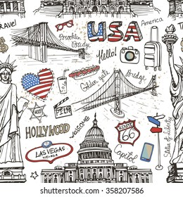 New York Doodle seamless pattern.USA,American travel symbols in hand drawn sketch.Vector icon,sign of landmark,lettering.USA,America,New York,NY.Vintage Illustration,background,backdrop ornament.Retro