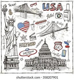 New York Doodle set.American travel symbols in hand drawn sketch.Vector icons,sign of landmark,lettering.Vintage Illustration,background.Golden gate bridge,Statue Of Liberty, Capitol,Brooklin bridge