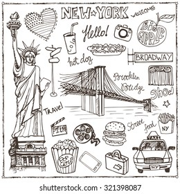 New York Doodle set.American,USA  travel symbols,hand drawn sketch.Vector icons,sign,landmark,Statute of liberty,food,lettering,retro Illustration,background.USA,America,New York,NY.Vintage Outline