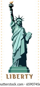 New York. Download banner.Statue of Liberty USA. landmark. Street business banner layout. The bronze sculpture. Green illustration on a white background. The national symbol of America.vector logo