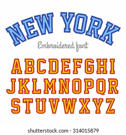 New York, embroidered font vector illustration