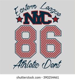 New York , fashion Typography, sport emblem design, Number, graphic Print label