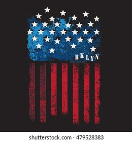 New York flag america typography, t-shirt graphics, vectors