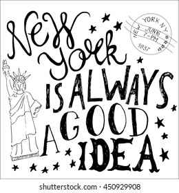 New York is great idea hand lettering vector image black and white