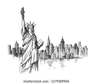 New York hand drawn sketch. Vector illustration