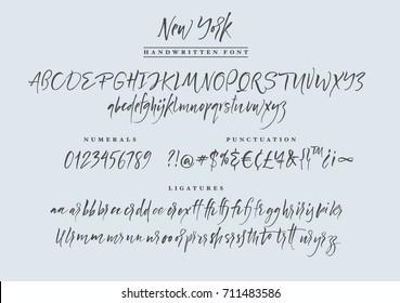 New York Handwritten Font Script Calligraphic Set