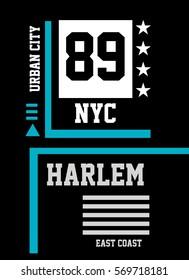 new york harlem east coast,t-shirt print poster vector illustration