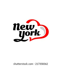 New York with heart logo. Black and red.