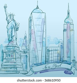 New York iconic building vector watercolor sketch - city architecture