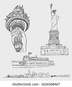 new york icons liberty monument tour boat skyscrapers vector art
