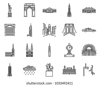 New York icons line style sets. Landmark in NYC. Vector building in america. Skyline, Culture, Garden, Hall.