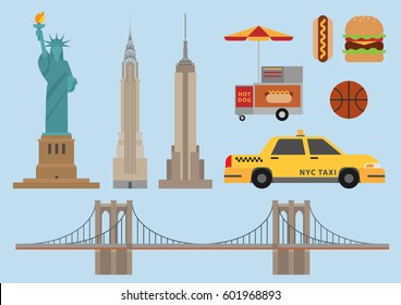 New york illustration, vector, landmark, USA, United states